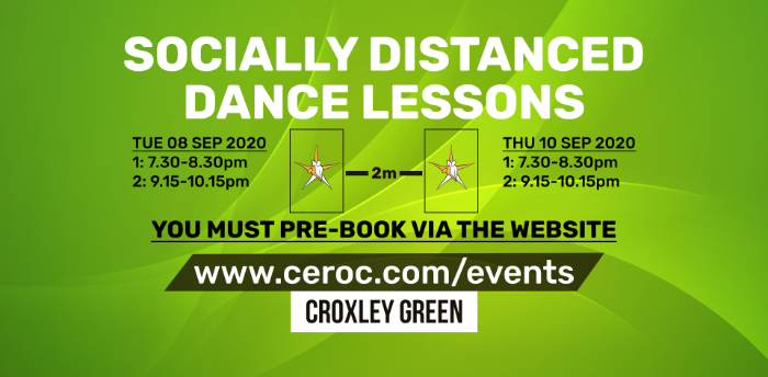 Ceroc Croxley Green TUESDAY 08 Sep 2020 - Socially Distanced Dance Lessons
