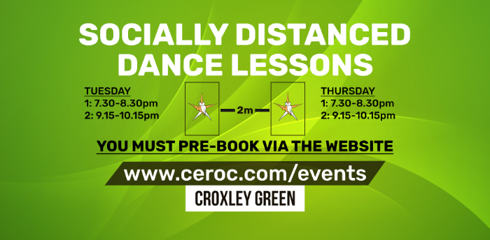 Ceroc Croxley Green TUESDAY 15 Sep 2020 - Socially Distanced Dance Lessons
