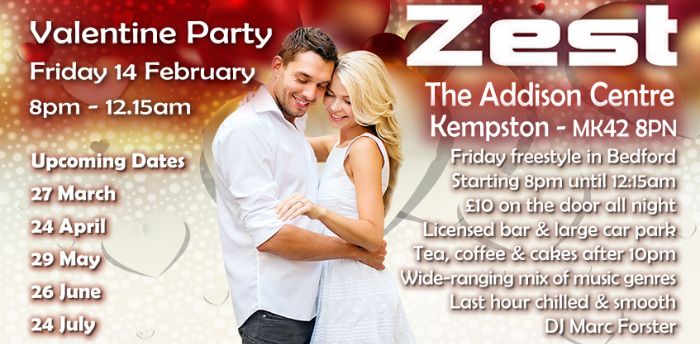 Valentine Party at Zest In Bedford