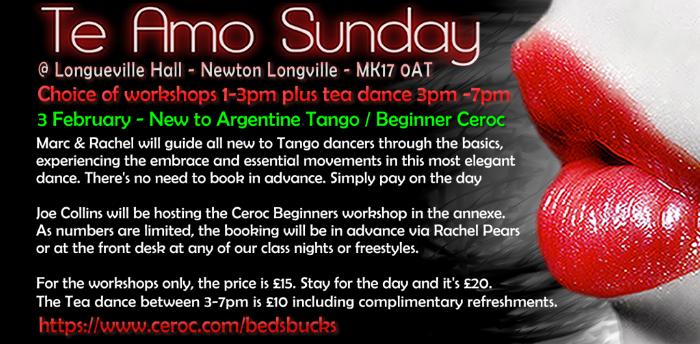 Te Amo Sunday Tea Dance & 2 hour Workshops