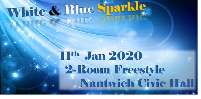 Ceroc Addiction Nantwich 2 Room White & Blue Sparkle Freestyle