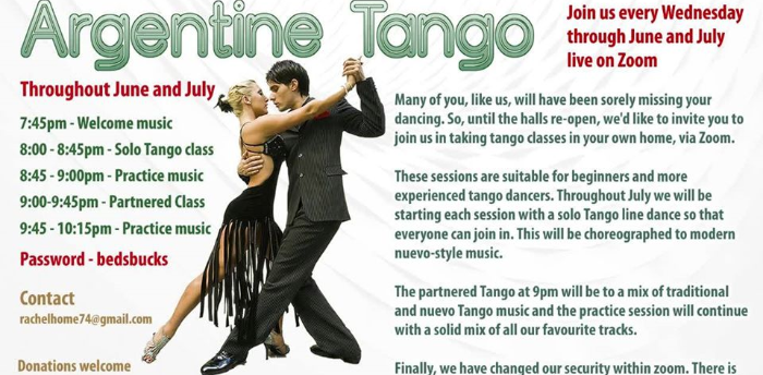 Wednesday Tango on Zoom - Solo Tango Line Dance at 8pm