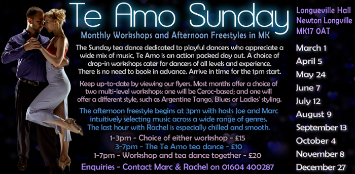 Postponed - Te Amo Sunday Tea Dance & Workshops